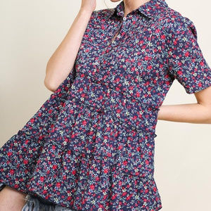umgee floral short sleeve button top shirt tunic